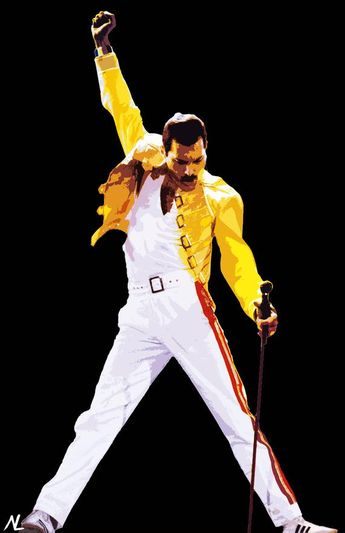 Freddie Mercury of Queen Illustration #1 - Rock and Roll Music Icon Pop Art Home Decor in Poster Print or Canvas