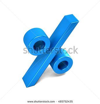 Percentage sign blue icon. 3D rendering illustration