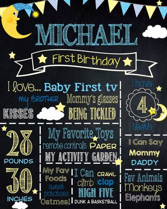 first birthday construction chalkboard sign printable po