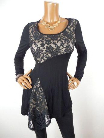 c9638a651a4f VENUS Womens Top M SEXY Shirt HOLIDAY Stretch Black Lace Beige Lining Long  Slvs #Venus
