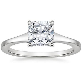 Oval Cut Muse Solitaire Diamond Engagement Ring - 18K White Gold (Setting Price)