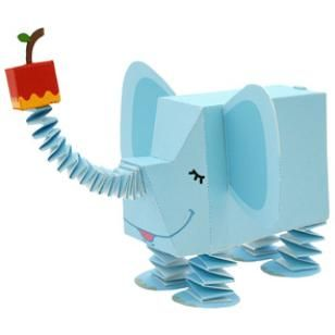 Paper Zoo : Elephant,Toys,Paper Craft,sky blue,Spring,Zoo,Animals,elephant,Moving