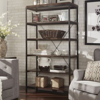 Somme Rustic Metal Grey Frame 6 Tier Bookshelf Media Tower By INSPIRE Q