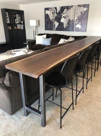 Live Edge Sofa Table Home Bar Table   Etsy