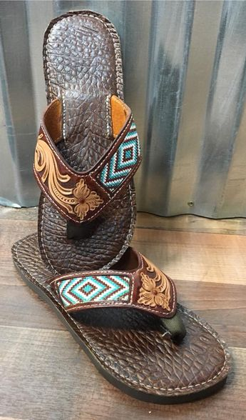 beaded/tooled flip flop