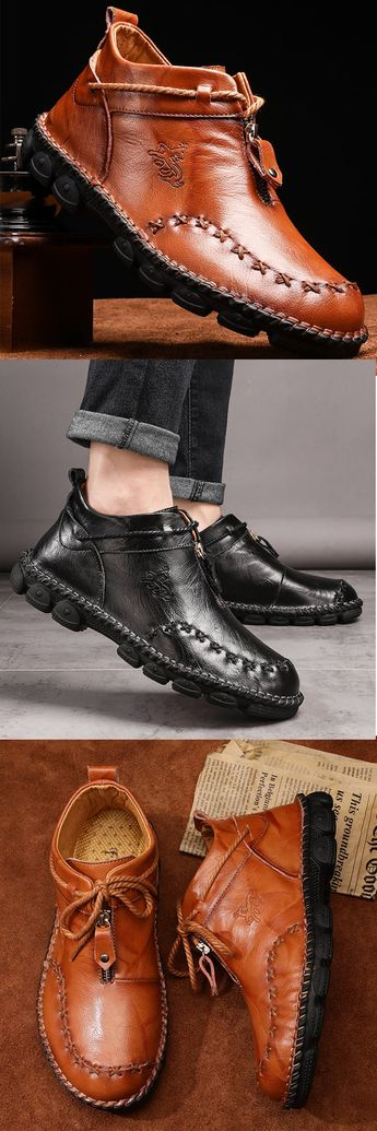 60% OFF Men #HandStitching #Leather Non Slip #LargeSize Soft Sole #Casual #Boots
