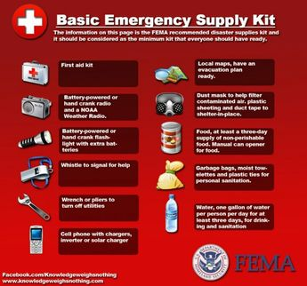FEMA recommendations for basic first aid kit