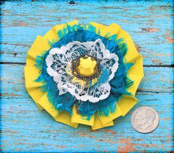 Teal, Yellow Flower Hair Clip, Turquoise Headband, Hair Accessory, Fabric Flower Brooch, Hair Piece, Fabric Flowers, Infant Hair Bow, Baby