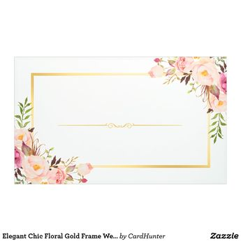 Elegant Chic Floral Gold Frame Wedding Party Banner | Zazzle.com
