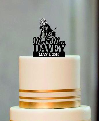 Lion King Topper With A Silhouette Of Simba And Nala Rustic Wedding Cake