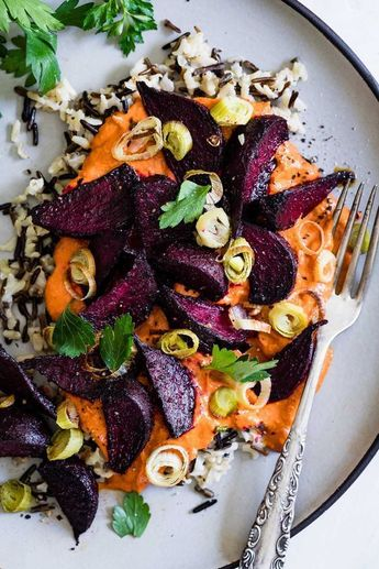 Roasted Beets with Creamy Romesco & Wild Rice + Vegetarian Heartland Cookbook