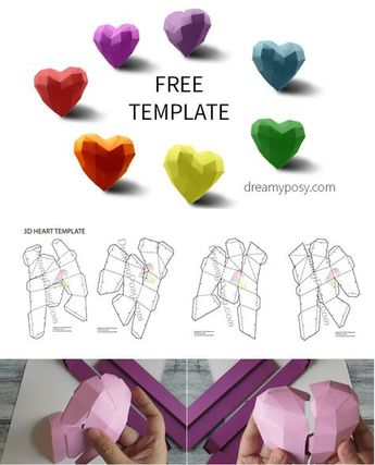 FREE template to make paper 3D heart for your Valentine