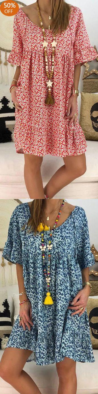 Loose Floral Print Short Sleeve Dress
