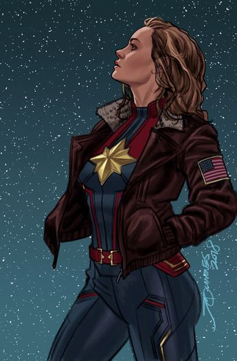 """""""Higher, further, faster, more."""" - Updated Captain Marvel #10 (2012) cover by Joe Quinones *"""
