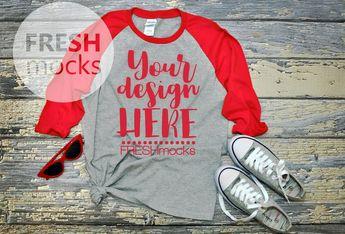36b2080f Gildan G570B Raglan Tshirt T-Shirt Tee MOCKUP - Youth Unisex Sport Grey/Red