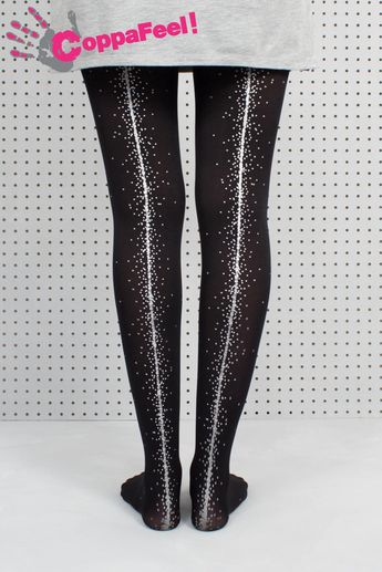 3584b45f33b Hand Screen Printed Black CoppaFeel! Dot Tights. Gift for her. Spotty print.