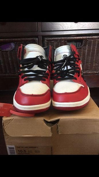 228560f3784 Off White Jordan 1 Chicago Size 10.5 Red Black Used  fashion  clothing   shoes