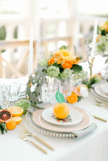 Vibrant Citrus Wedding Inspiration Shoot at Great Marsh Estate - Chic Vintage Brides : Chic Vintage Brides