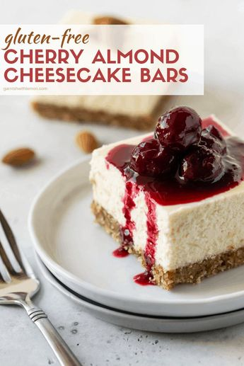 Need an easy, gluten-free dessert that you can make ahead of time? Try these decadent Cherry Almond Cheesecake Bars. A great dessert recipe for a crowd! #cheesecakerecipe #glutenfree #cherry #almond