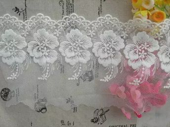 Antique Style Cotton Lace Trim Soft Tulle Embroidered By La