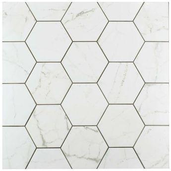 "Karra Carrara 7"" x 8"" Porcelain Field Tile in White/Gray"