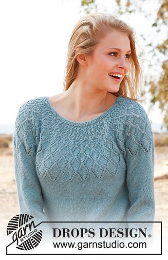 29fe6563c860b Sweet Harlequin   DROPS 145-17 - Knitted DROPS jumper with lace pattern and  round