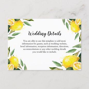 Lemon and Leaves Wedding Details Info Enclosure | Zazzle.com