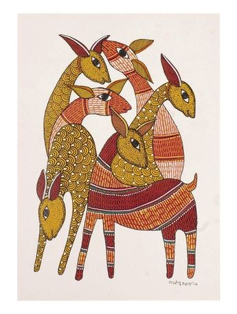 Deers Gondh Painting By Rajendra Shyam 10in x 7in