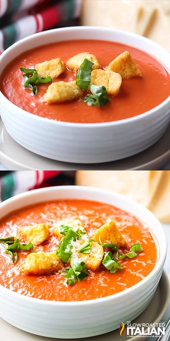 This Tomato Basil Soup is filling, comforting, and so easy to make from scratch! Move over Applebee's, this easy soup recipe tastes even better than the original and is ready in only 30 minutes. #TomatoBasilSoup #CopycatRecipes