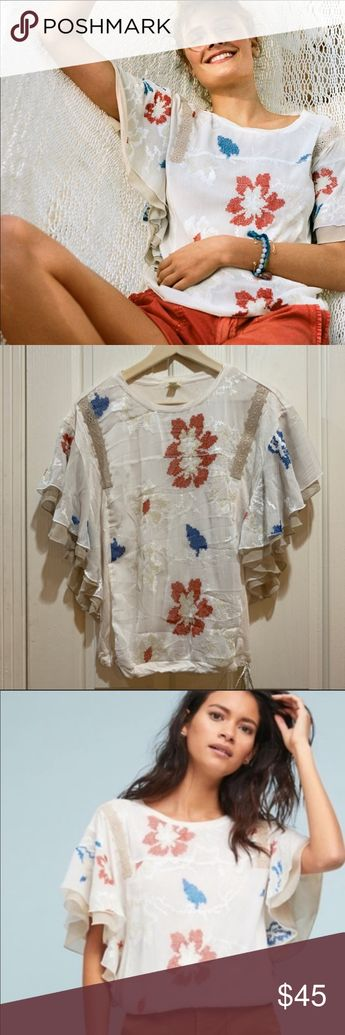 63f3fff07e18 Anthropologie Margarite Drawstring Top Blouse NWT BNWT brand new with tags  Women's medium M White motif