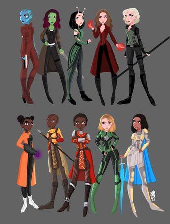 Nebula, Gamora, Mantis, Wanda, Natasha, Shuri, Okoye, Nakia, Carol, Valkyrie