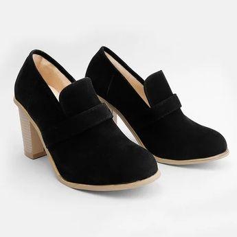 e40e7c1b34f Women Solid Thick Heel Elegant High Heel Cute Work Slip-On Boots
