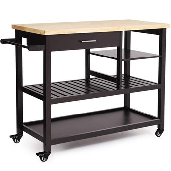 VASAGLE Rubber Wood Kitchen Island, Rolling Utility Cart with Drawer and Lockable Wheels, Brown UKKC92CN