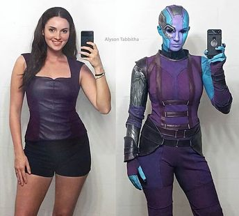 """Alyson Tabbitha auf Instagram: """"It's been a while since I posted an before and after cosplay transformation pic! 💙💜💙 . Full #Nebula costume & makeup made/done by me! I…"""""""
