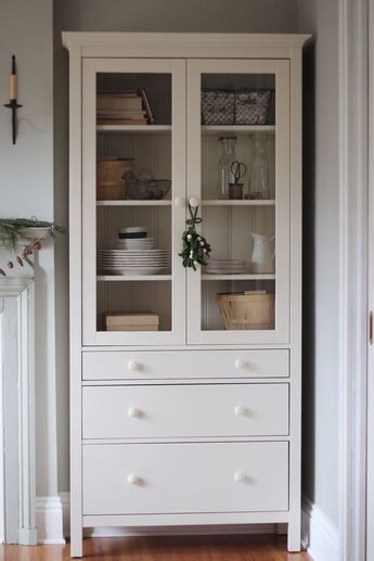 Liatorp Bookcase With Glass Doors Dark Olive Green