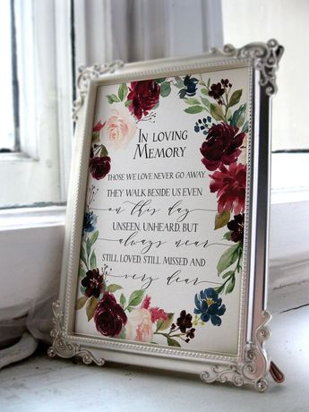 In Loving Memory Printable wedding memorial sign, fall burgundy navy wedding sign, marsala wedding signage printable, rustic memorial print