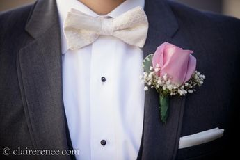 Ivory Bow Tie, and dark gray tux. My Husband looked so handsome.
