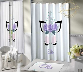 Unicorn Shower Curtain For Kids Bathroom Decor Bath Mat Girls Extra Long Fabric