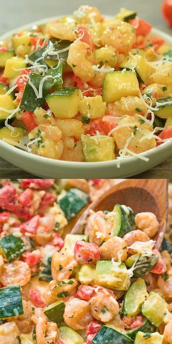 This elegant and scrumptious Creamy Shrimp and Zucchini Skillet is a restaurant-worthy dish, made in 30 minutes. Keto friendly. If you are looking for tasty and easy shrimp recipe, you've come to the right place! Please, share some photos with me if you do try it, I always check them! #shrimp #zucchini #dinner #lowcarb #keto #ketorecipe #mealprep #seafood