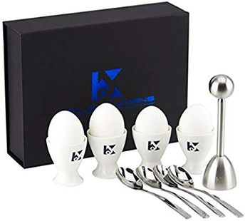 Amazon.com: K&J's Egg Cups & Cracker Set - Plus Beautiful Storage Box - Set Includes 4 Ceramic Egg Holders + 4 SS Spoons + 1 Egg Topper - Use the Cutter For Hard & Soft Boiled Eggs - Could be used as Egg Holders: Kitchen & Dining