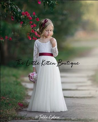 Long sleeve lace and tulle flower girl dress, white lace rustic wedding dress, burgundy girls Christmas dresses, winter flower girl dress
