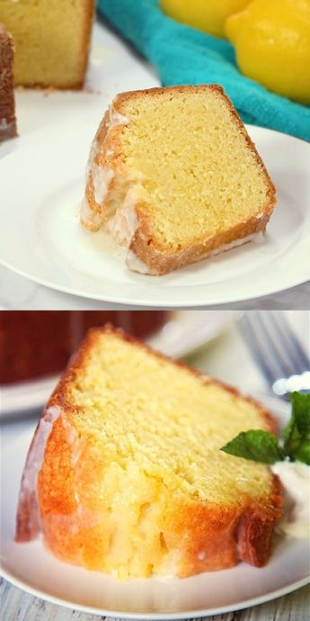 Lemon Sour Cream Pound Cake - the most AMAZING pound cake I've ever eaten! So easy and delicious! Top the cake with a lemon glaze for more yummy lemon flavor. Flour, lemon pudding mix, salt, baking soda, butter, sugar, vanilla, eggs, sour cream, and lemon zest. Serve the cake with whipped cream, mint and fresh berries. I took this to a party and everyone asked for the recipe! Can freeze leftovers! #poundcake #cake #dessert #video #cookingvideo #recipevideo #lemon