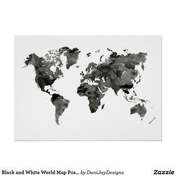 Black and White World Map Poster | Zazzle.com