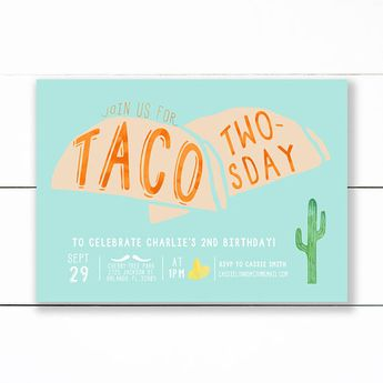 taco twosday fiesta birthday invitations and or thank you
