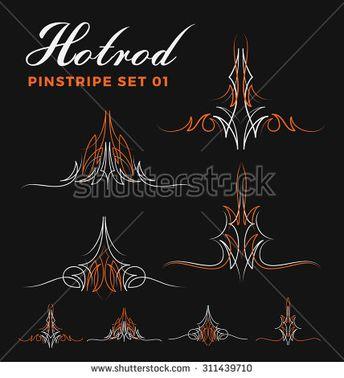 Set Of Vintage Pinstripe Line Art For Vinyl Sticker Pain