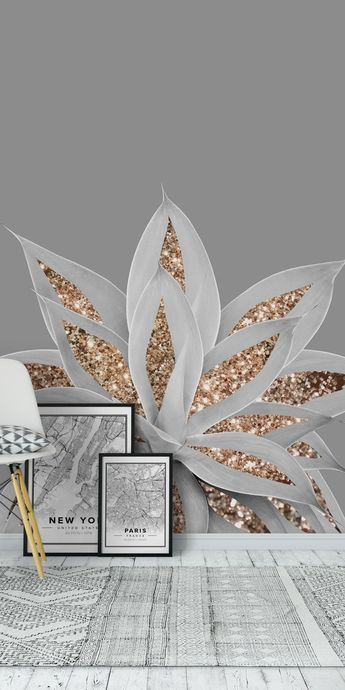 Gray Agave with Gold Glitter 1 Wall Mural / Wallpaper Art