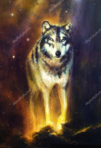 Wolf portrait, mighty cosmical wolf walking from light, beautiful detailed oil p , #AFFILIATE, #cosmical, #wolf, #mighty, #Wolf #AD