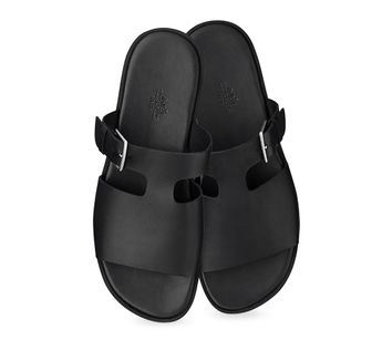 Hermès men's sandal in black calfskin with palladium plated adjustable buckle, rubber sole, leather lining