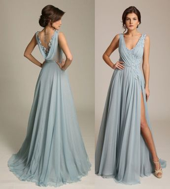 Dusty Blue V Neck Chiffon Evening Gown with Side Split,Sexy Cowl Back Prom/Evening Bridesmaid Dress from Flosluna