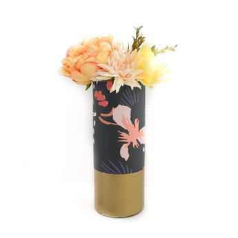 Fall Foliage Print Pattern Wrapped Glass Flower Vase with Gold Base